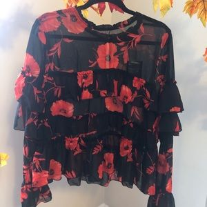 NWT Floral Ruffle Top